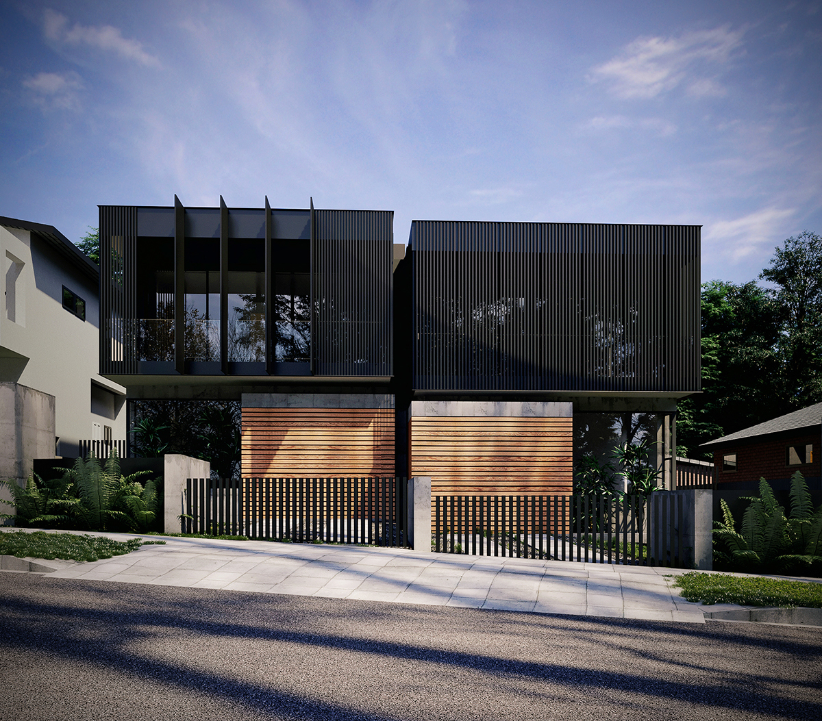 exterior 3d render of a dual occupancy house