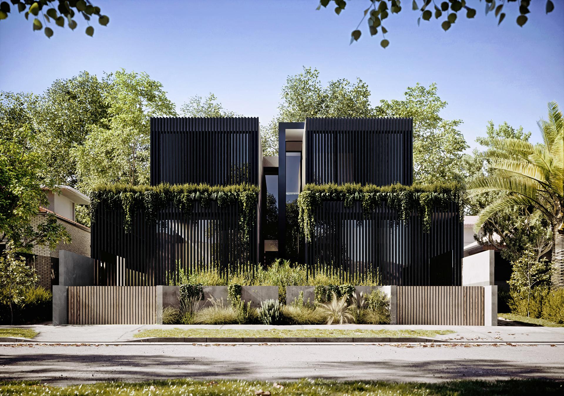 duplex house in Melbourne exterior 3d rendering