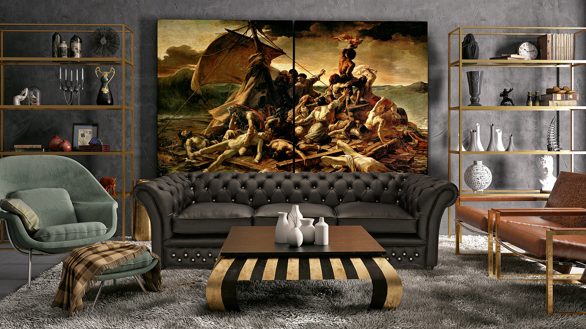 Chesterfield sofa montage in a room with a big painting The Raft of the Medusa