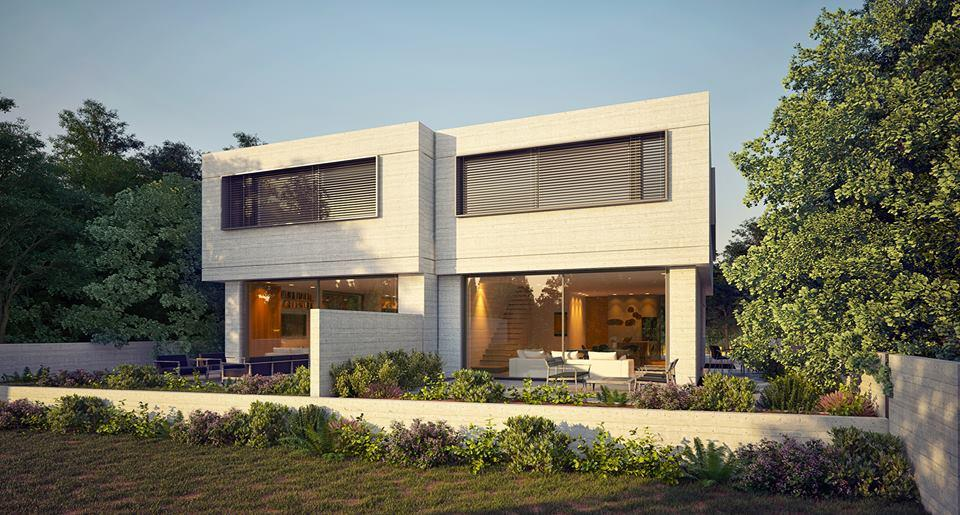 cgi render of the back facade of a double family house in israel