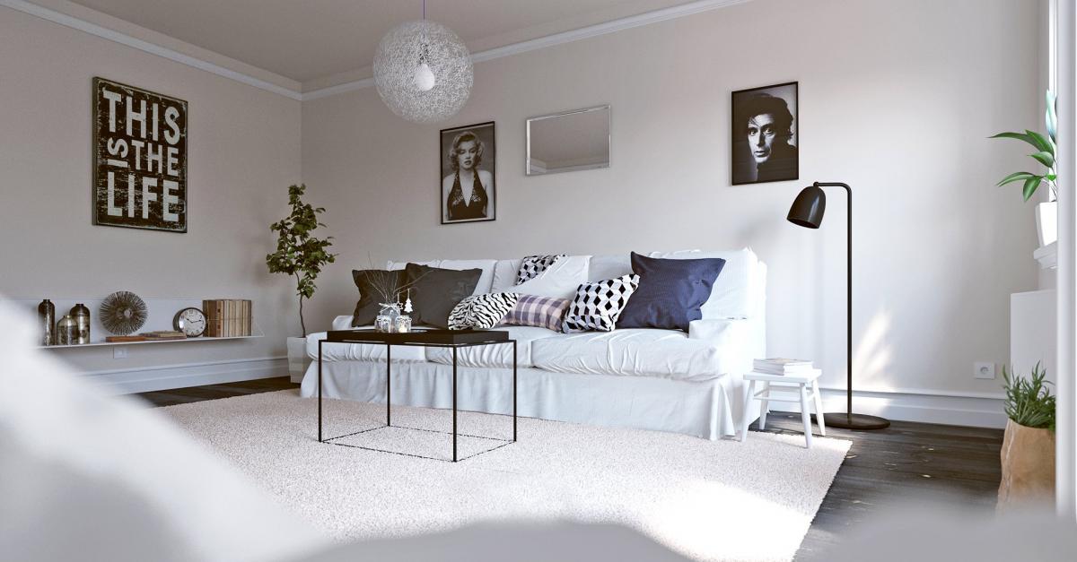 Scandinavian style living room 3d render