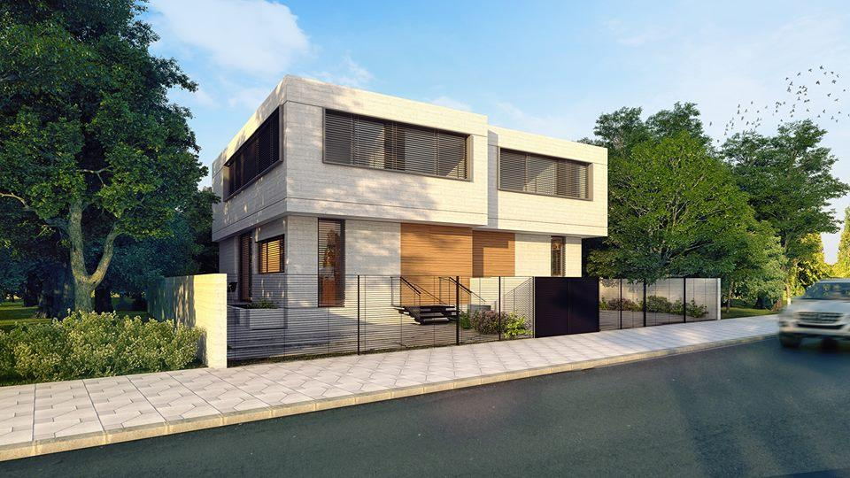 Front view 3d render of house in Israel