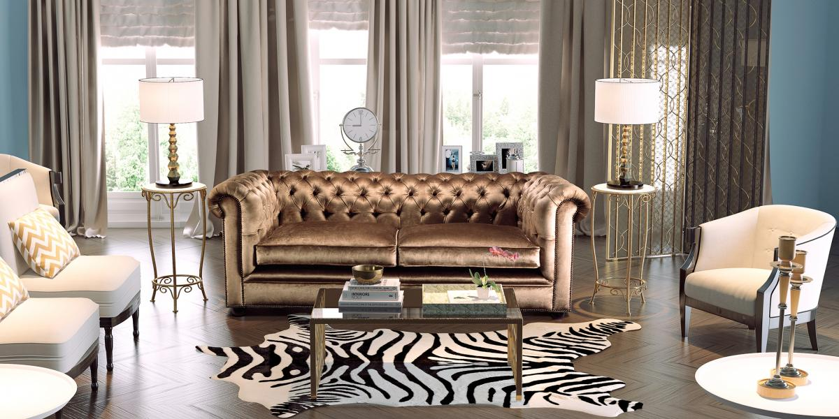 Montage of a gold chesterfield sofa in a 3d room at daylight