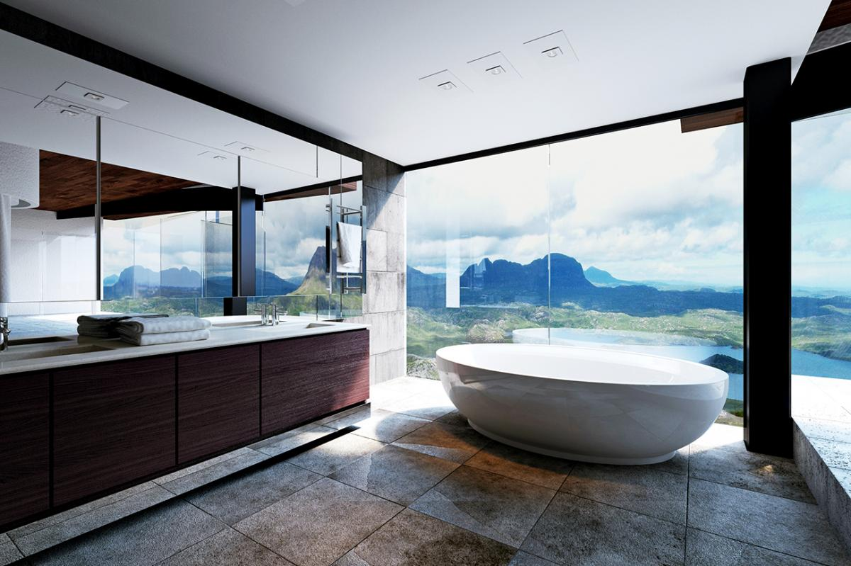 luxury modern bathroom with amazing view