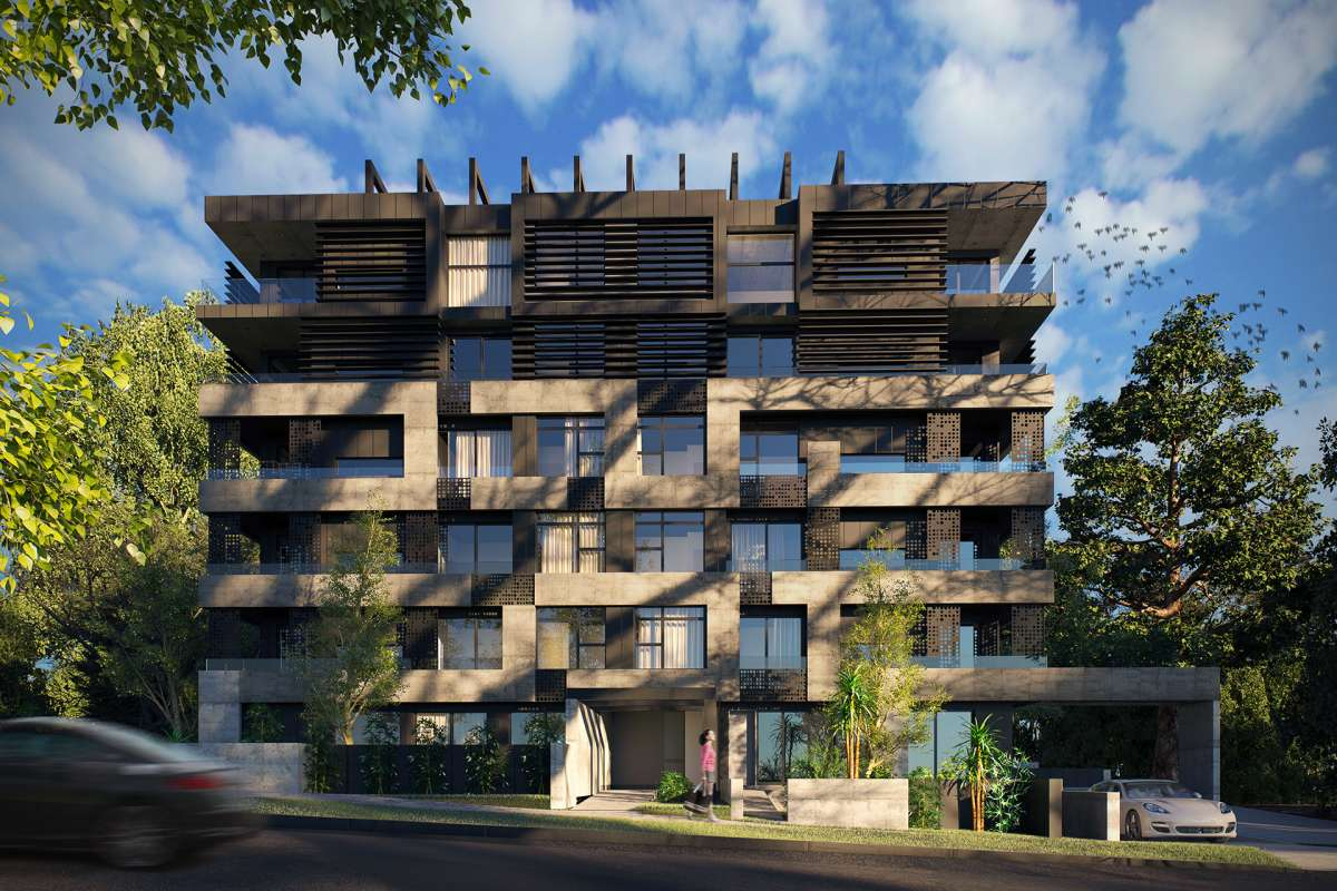 3d rendering of apartments with tetris-like facade panels