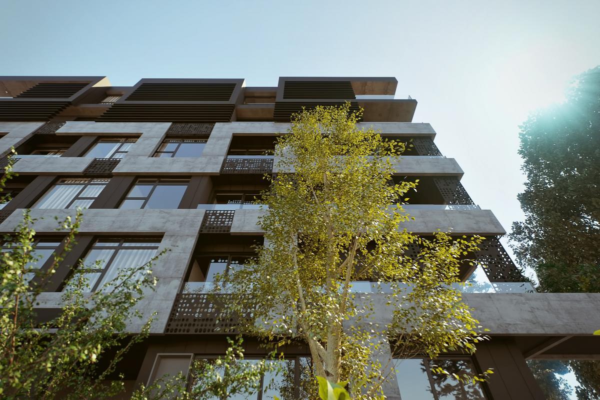 Exterior 3d render of a street apartment