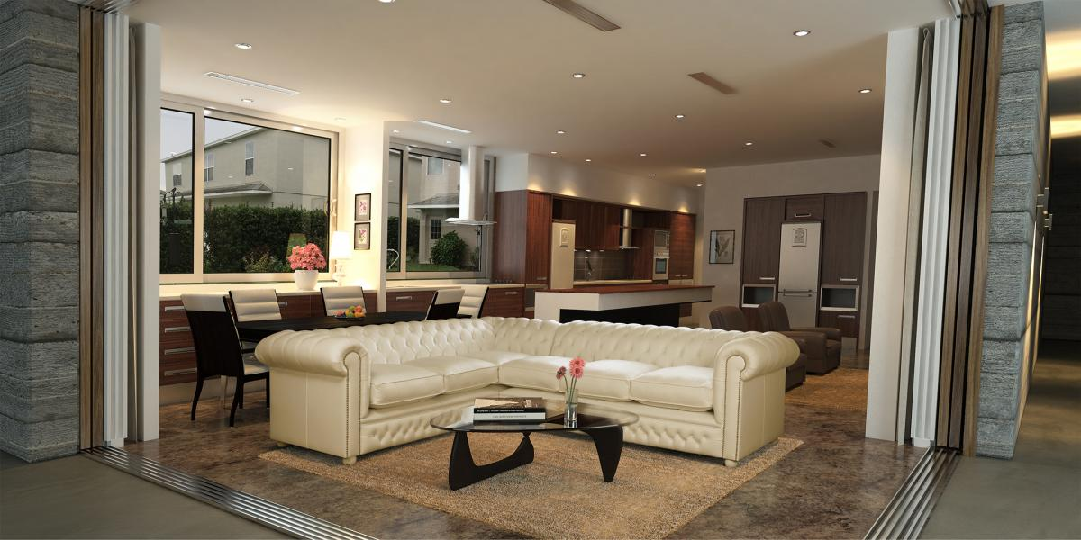 Montage of a modern corner chesterfield sofa and a 3d living room backdrop