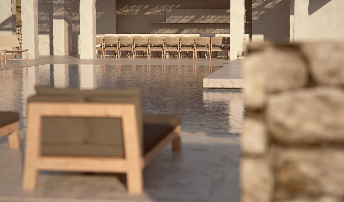 minimal villa in antiparos pool shot with lounges