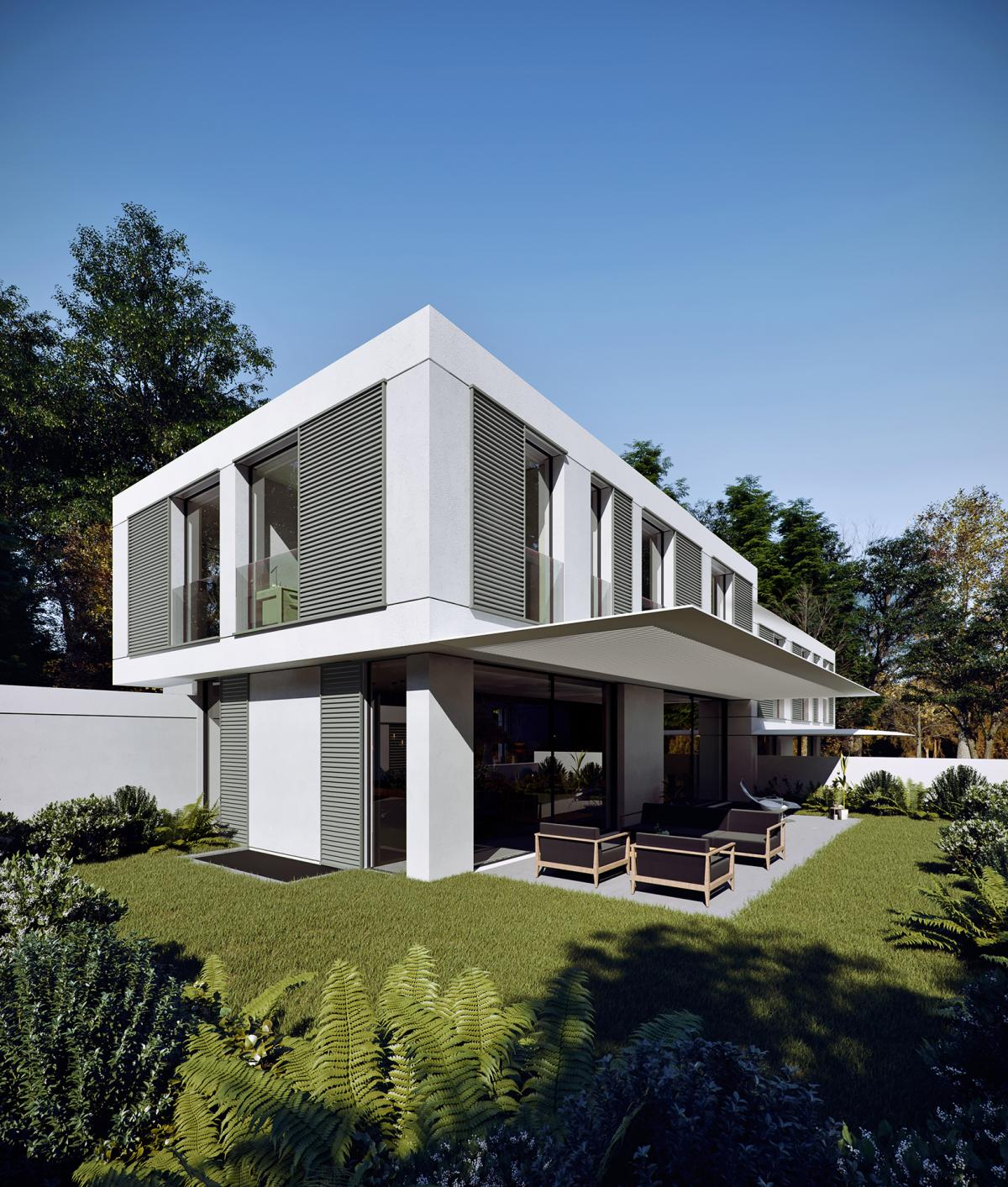 Hero shot 3d image of a double family villa