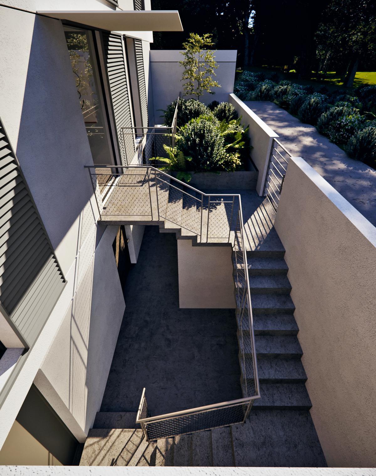 3d photography of a villa staircase