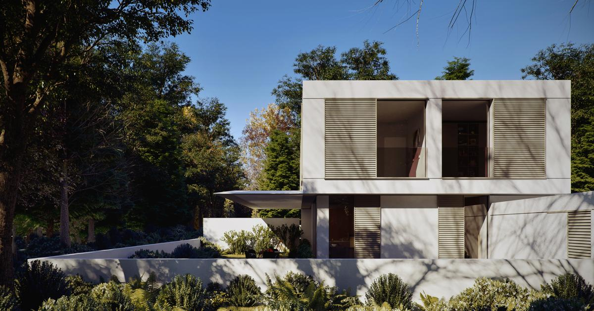 A morning Exterior 3d rendering of a double family house in Israel surrounded by trees