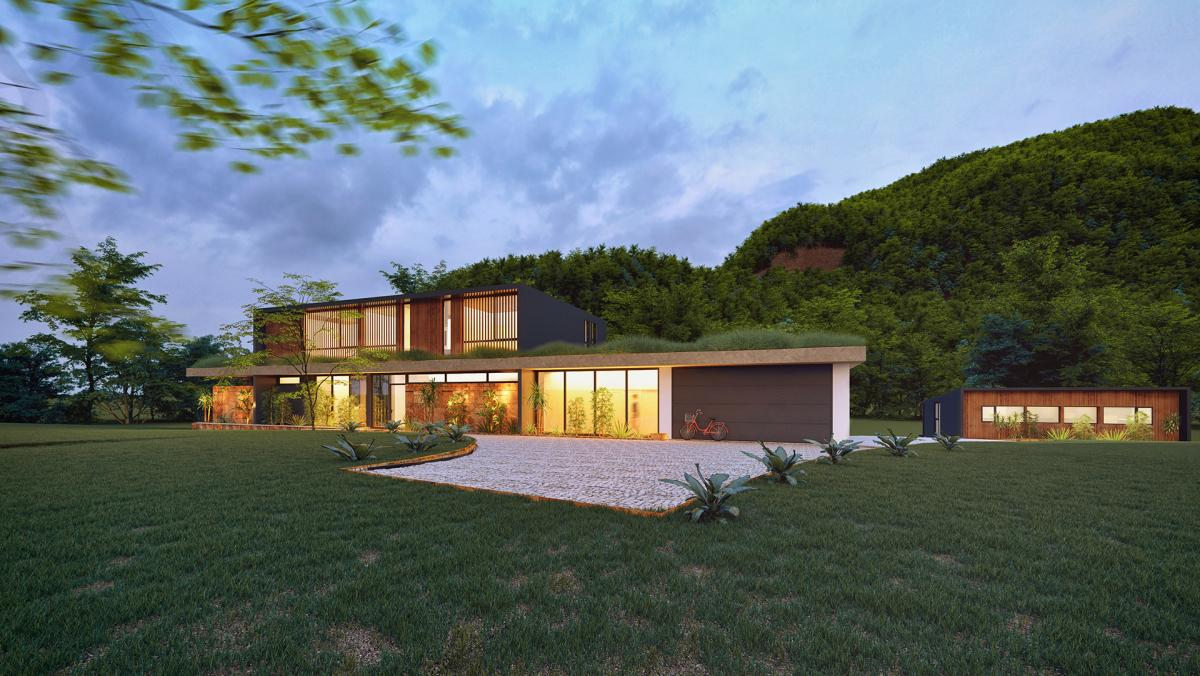 3d rendering of house in australia in nature nightshot