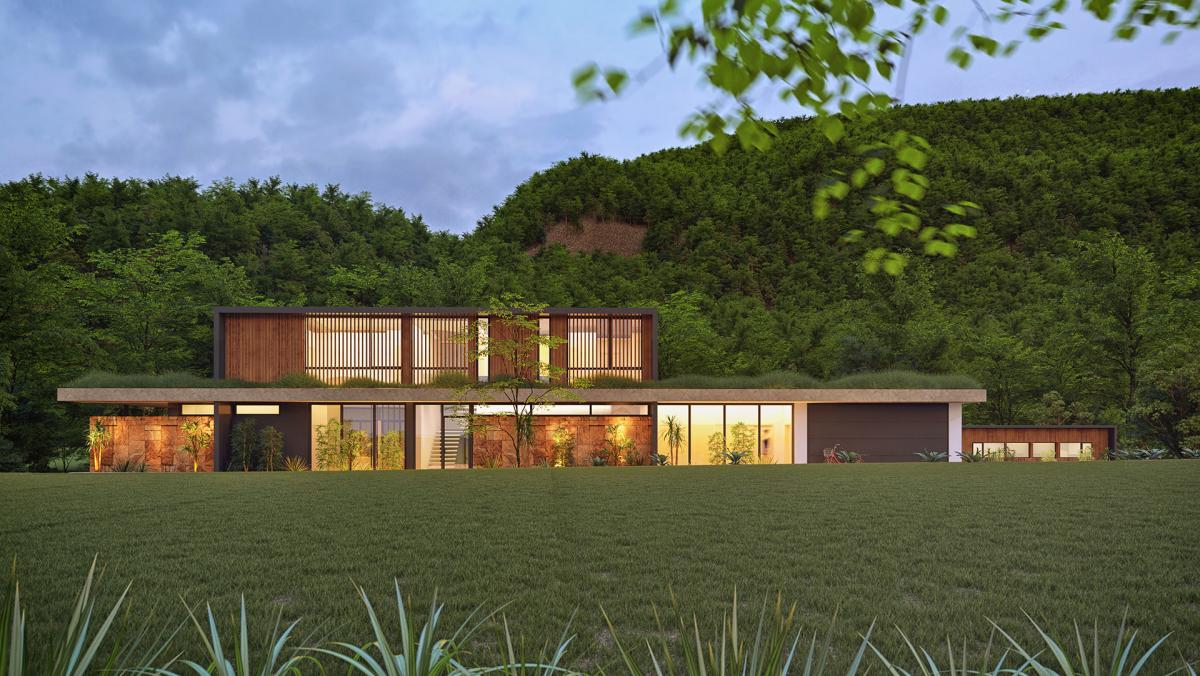 3d rendering of house in australia in nature nightshot