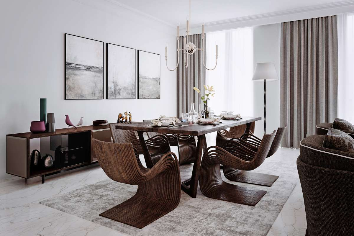 3d architectural visualisation london dining room