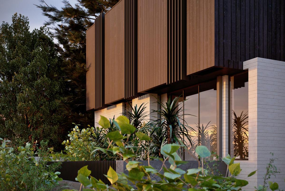 3d rendering of a five townhouse development in Maroubra NSW