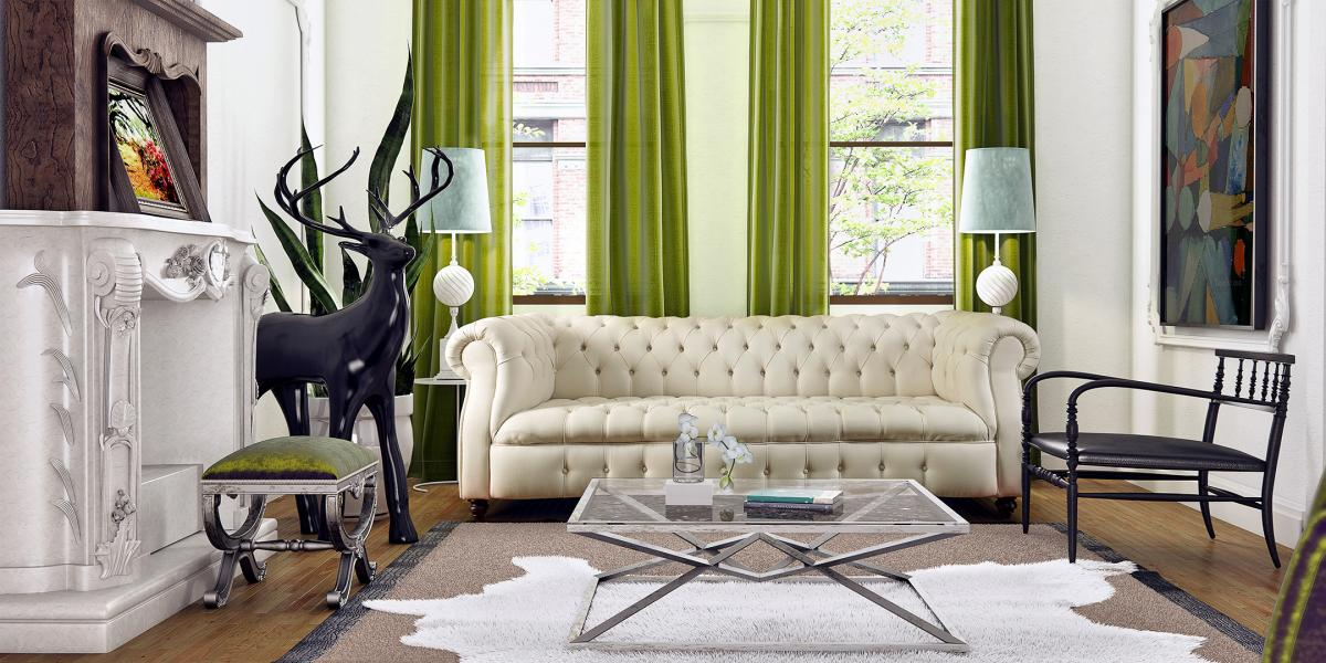 3d montage of a room with a white chesterfield sofa