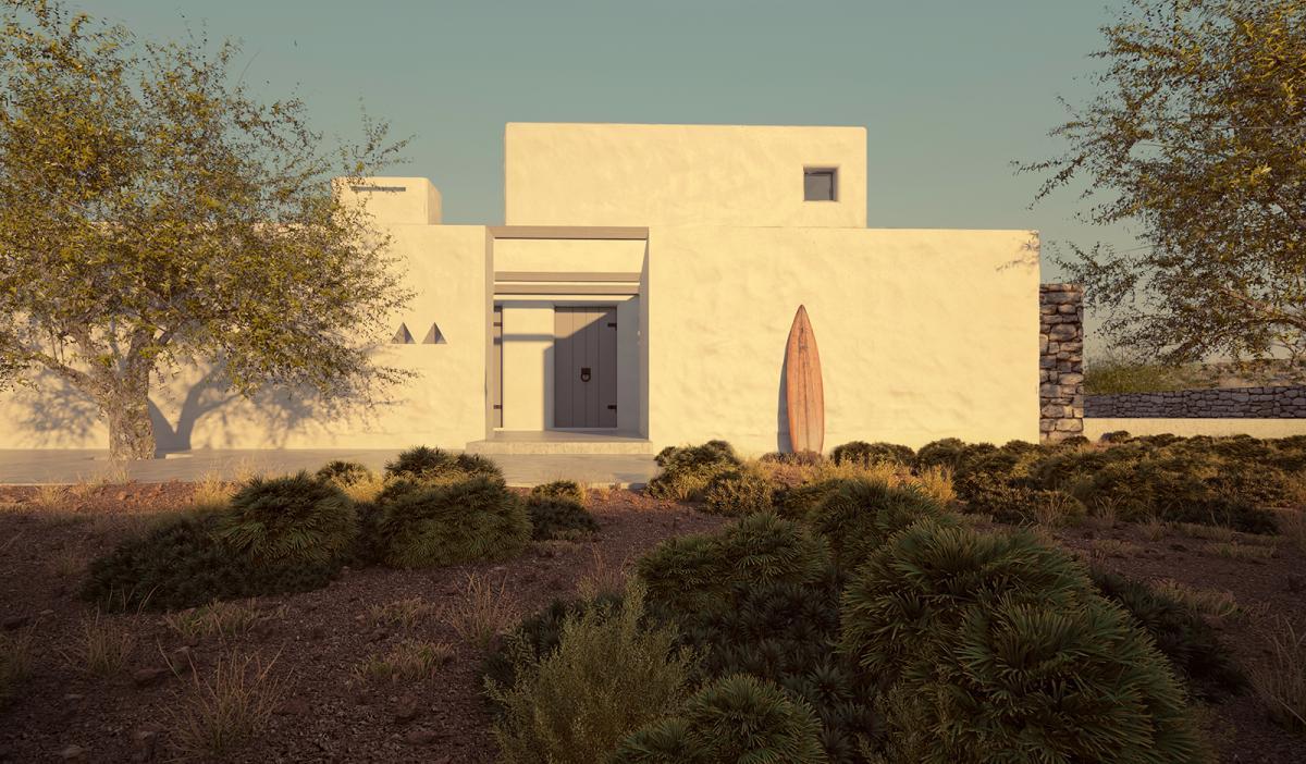 minimal villa in antiparos with nature sorounding