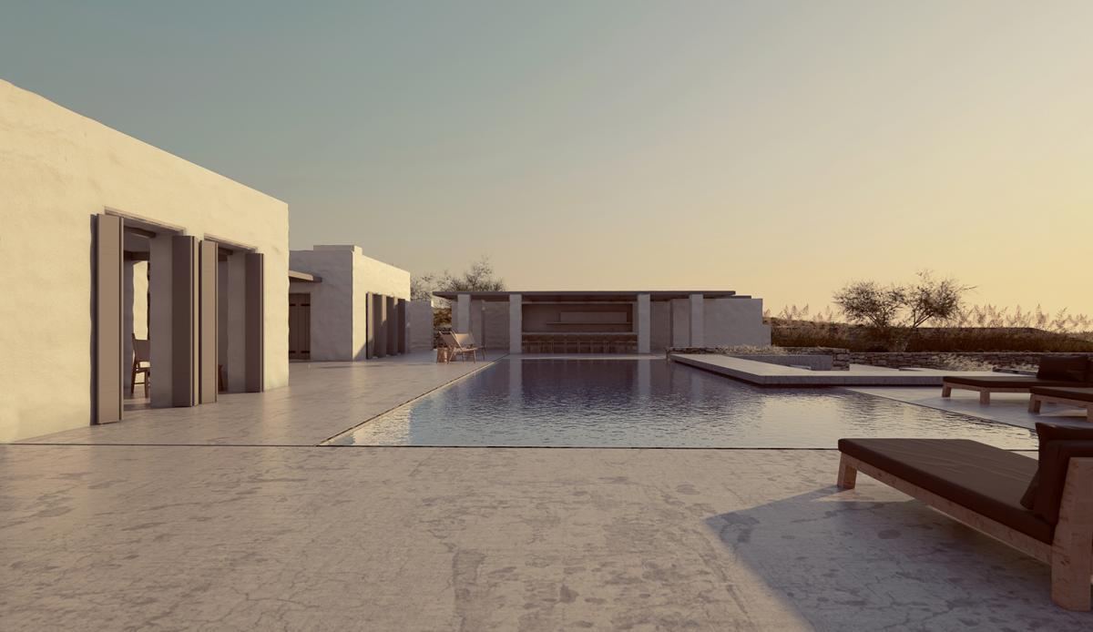 minimal villa in antiparos pool shot