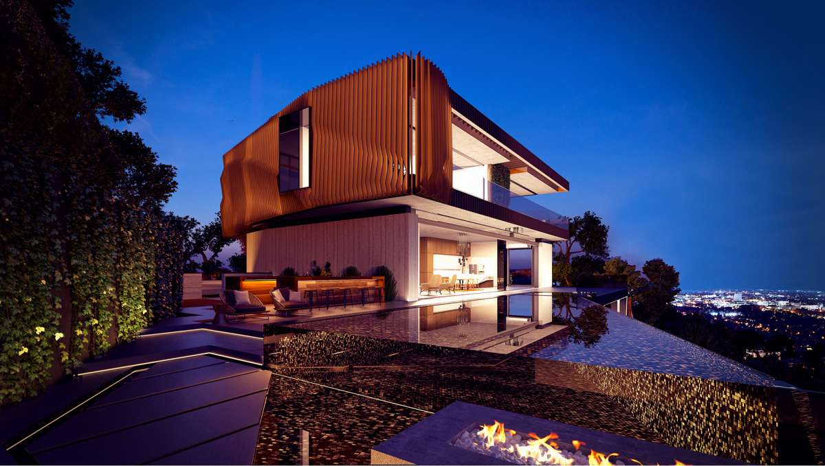 Dusk 3d rendering of a villa