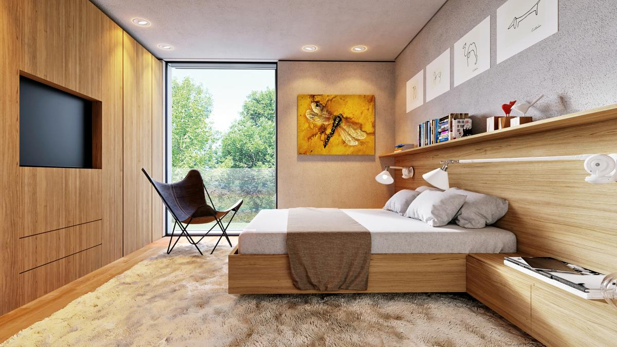 3d visualazation of bedroom with Extra Long Triplex Lamp