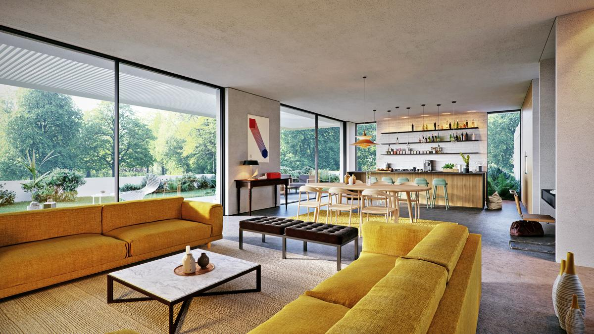 muuto rest sofa, Knoll Marc Krusin Coffee Table, Florence Knoll Bench 3d rendering