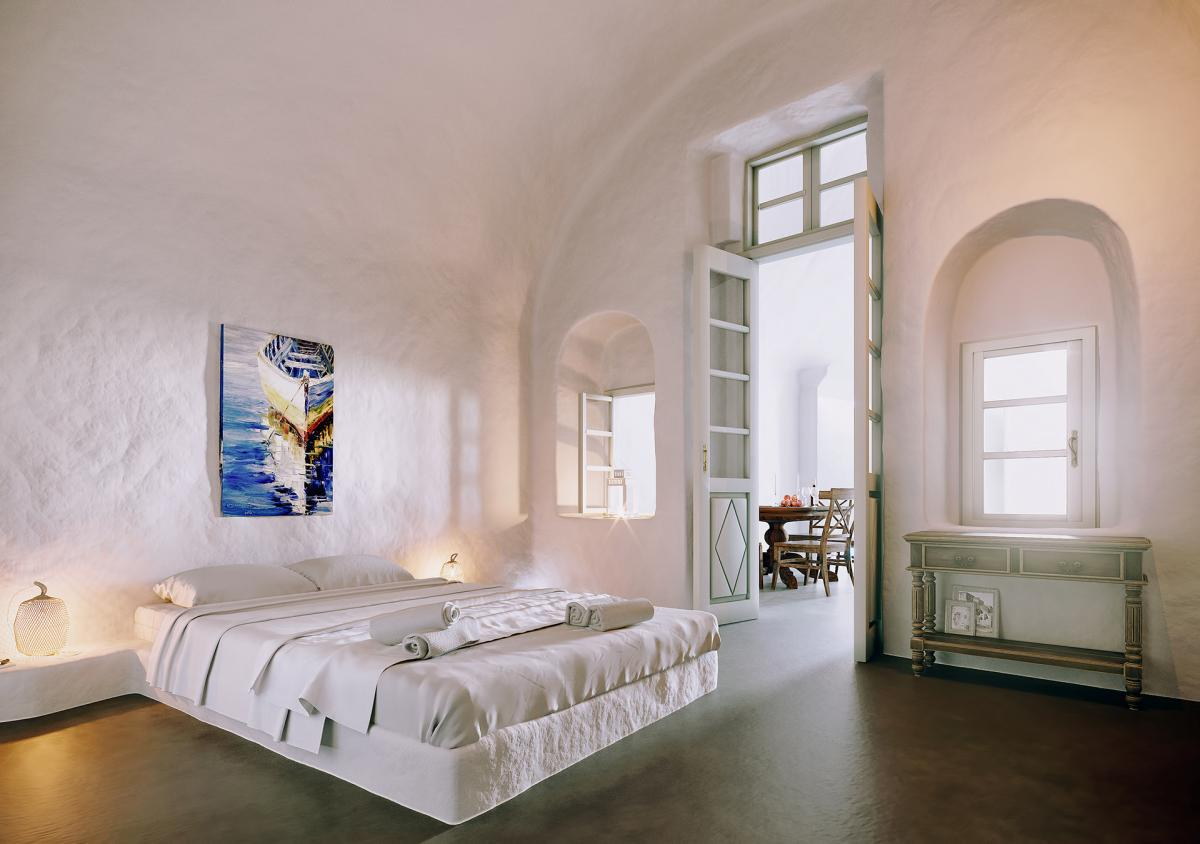 3d render of  bedroom in Santorini