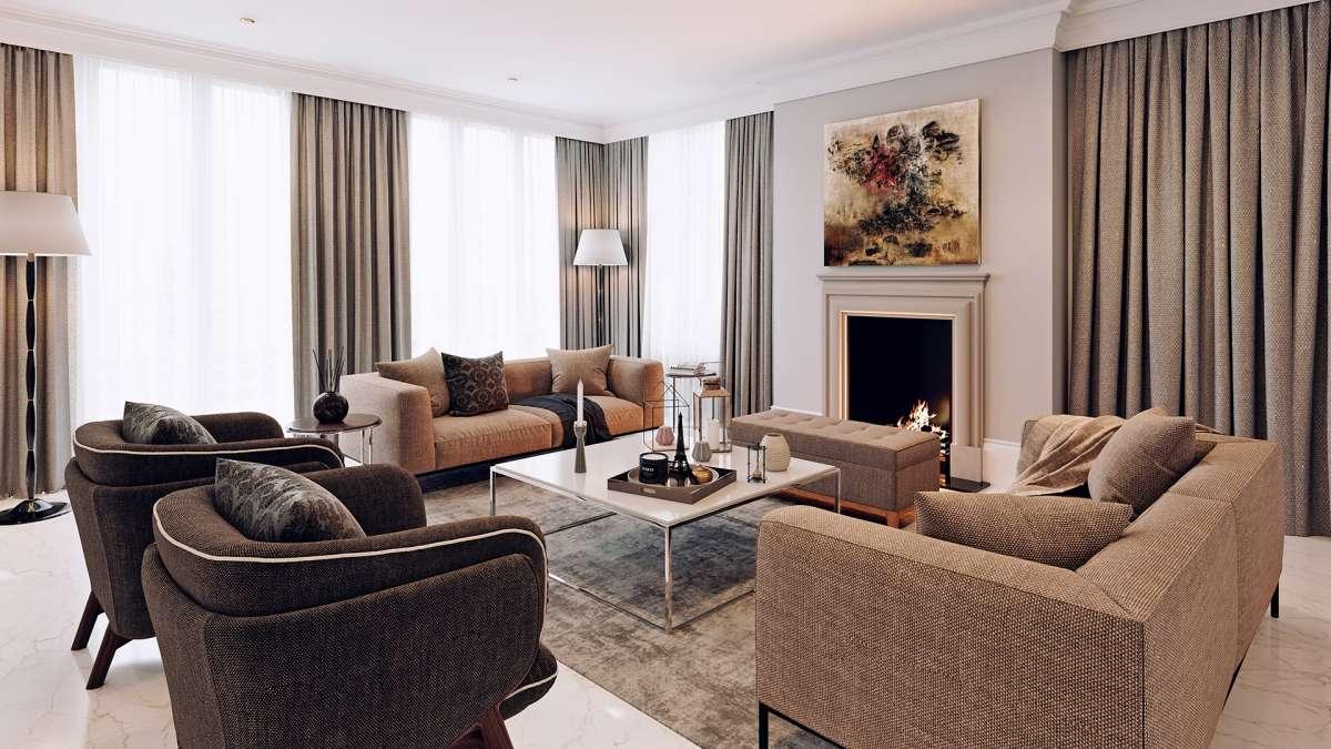 3d rendering london living room