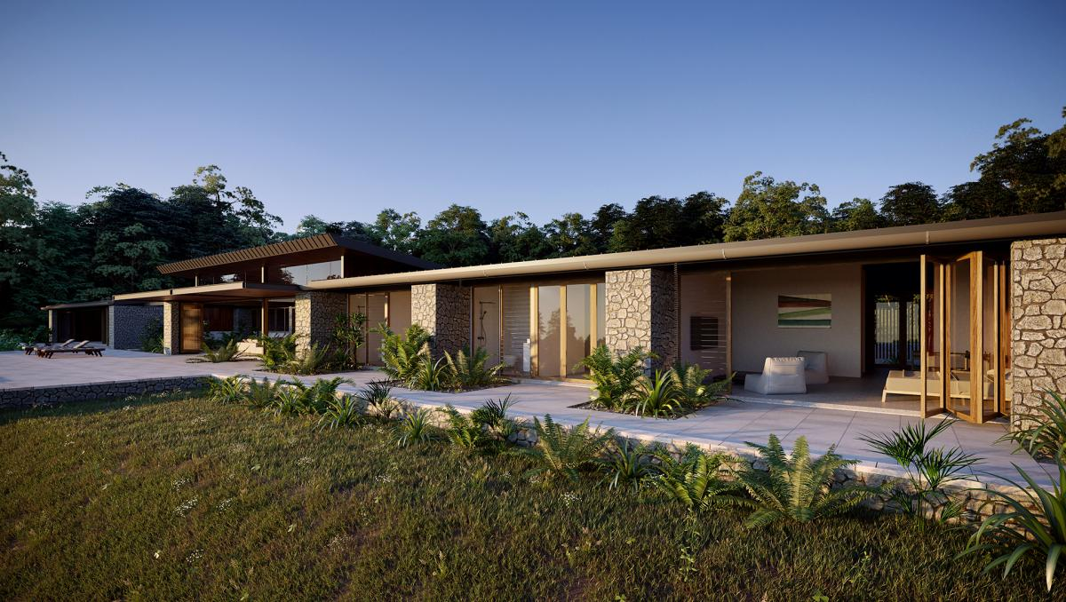 exterior 3d render of a valley house