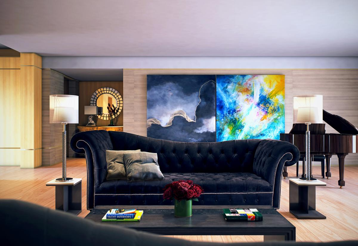 Montage of a curvy black chesterfield sofa in a 3d room with big paintings and a piano