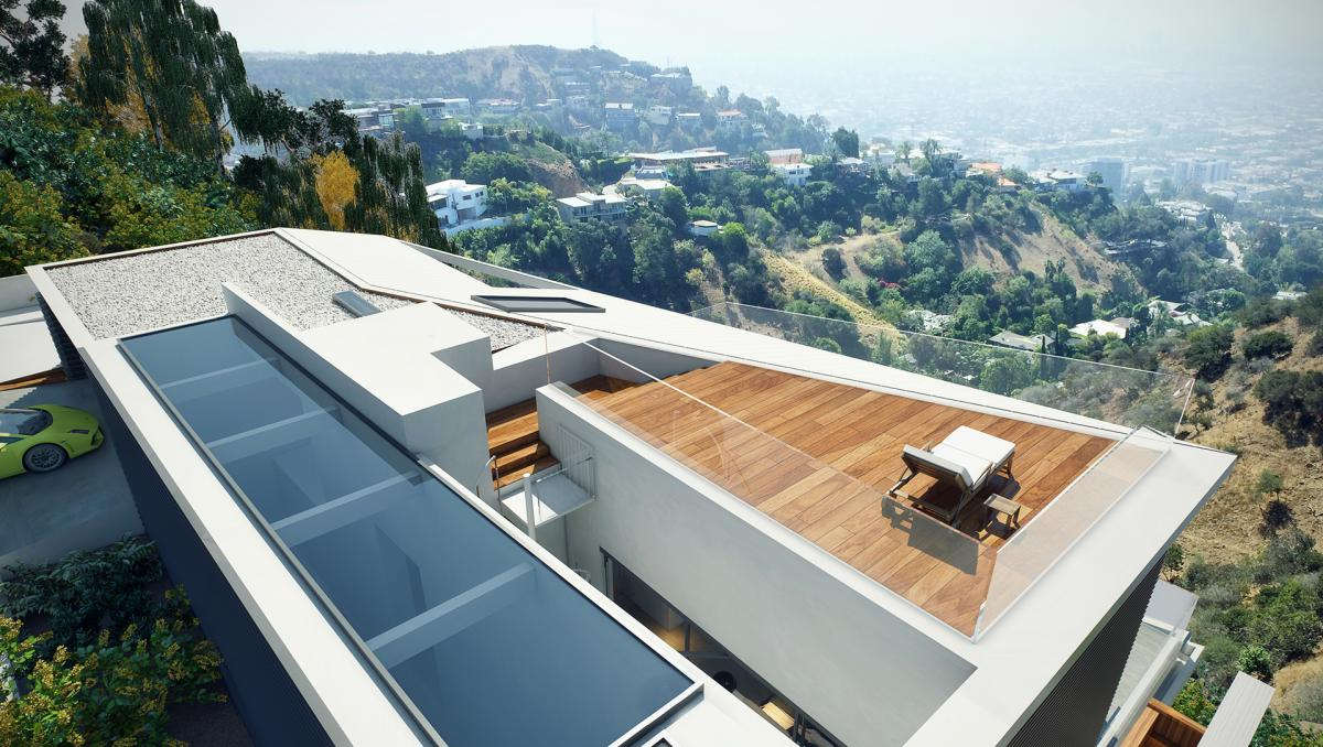 3d terrace of a villa with a view