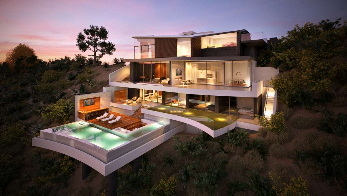 Dusk Exterior 3d rendering of a villa with a pool