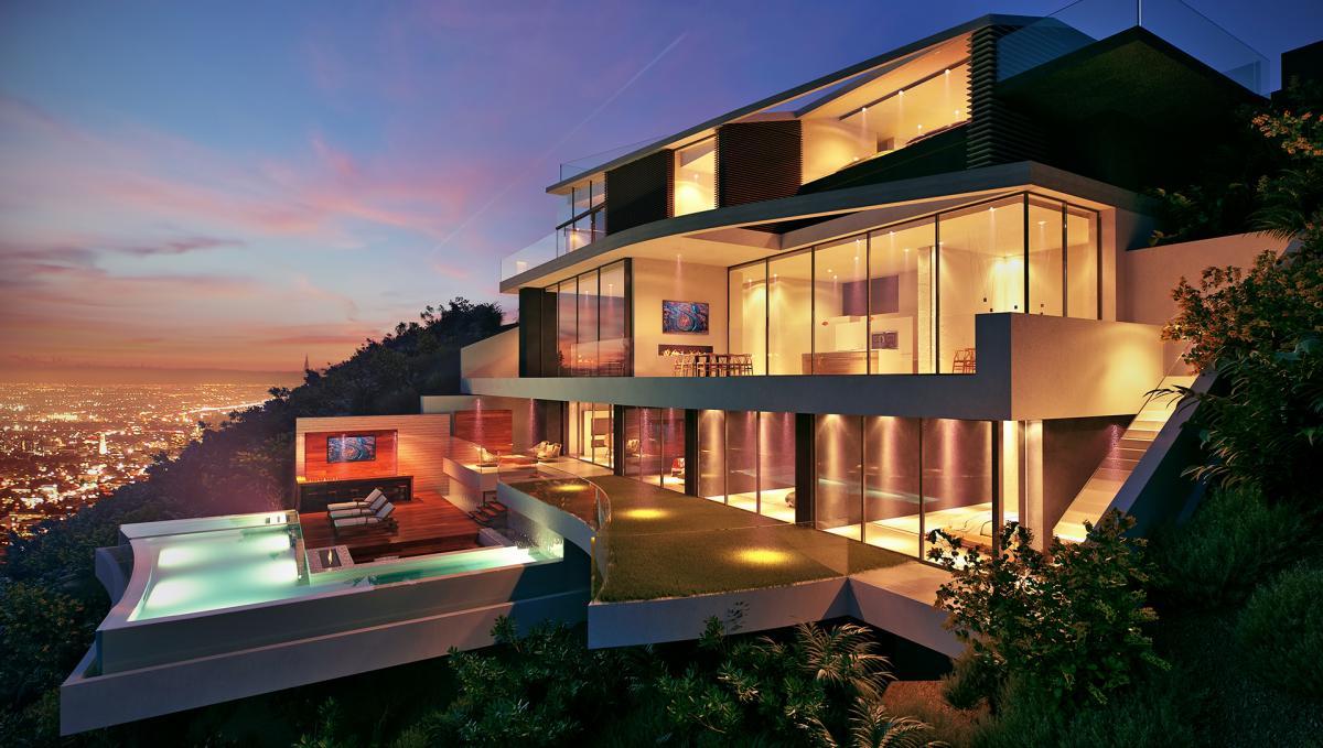 An exterior of a 3d villa at night