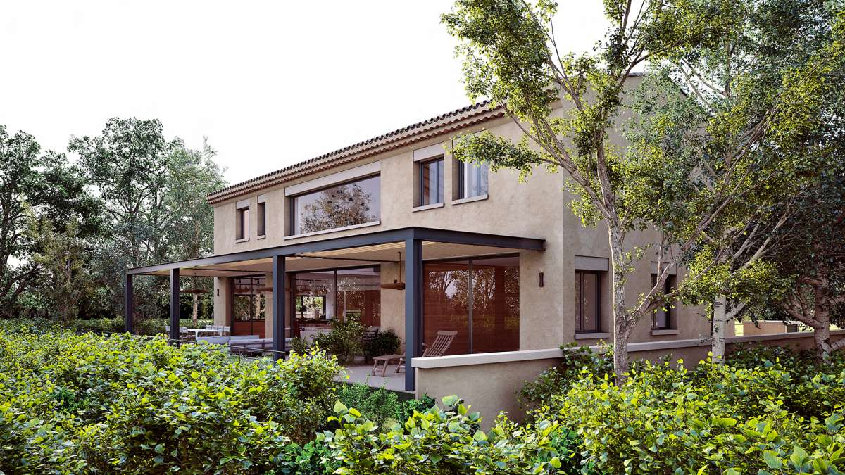 exterior view of the back of this villa in israel with vegetation