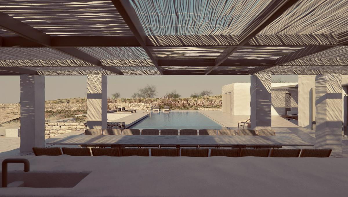 minimal villa in antiparos pool shot by the pergola