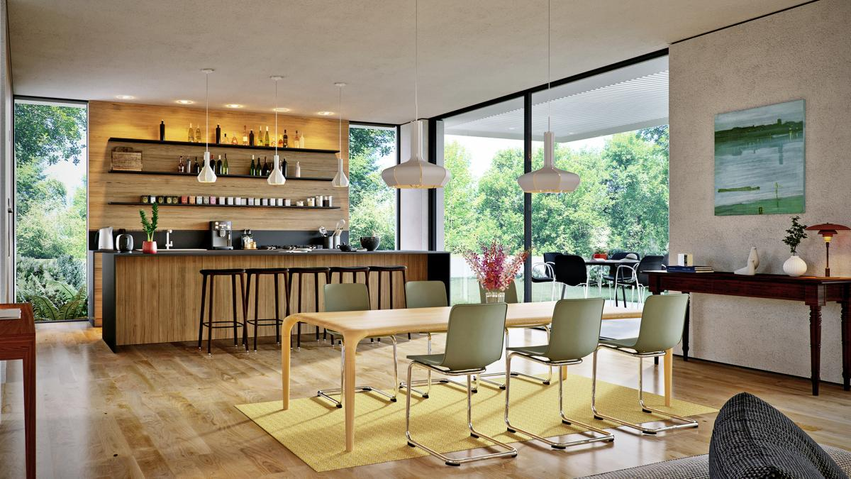 modern dining room 3d rendering Castula Table and Vitra chairs