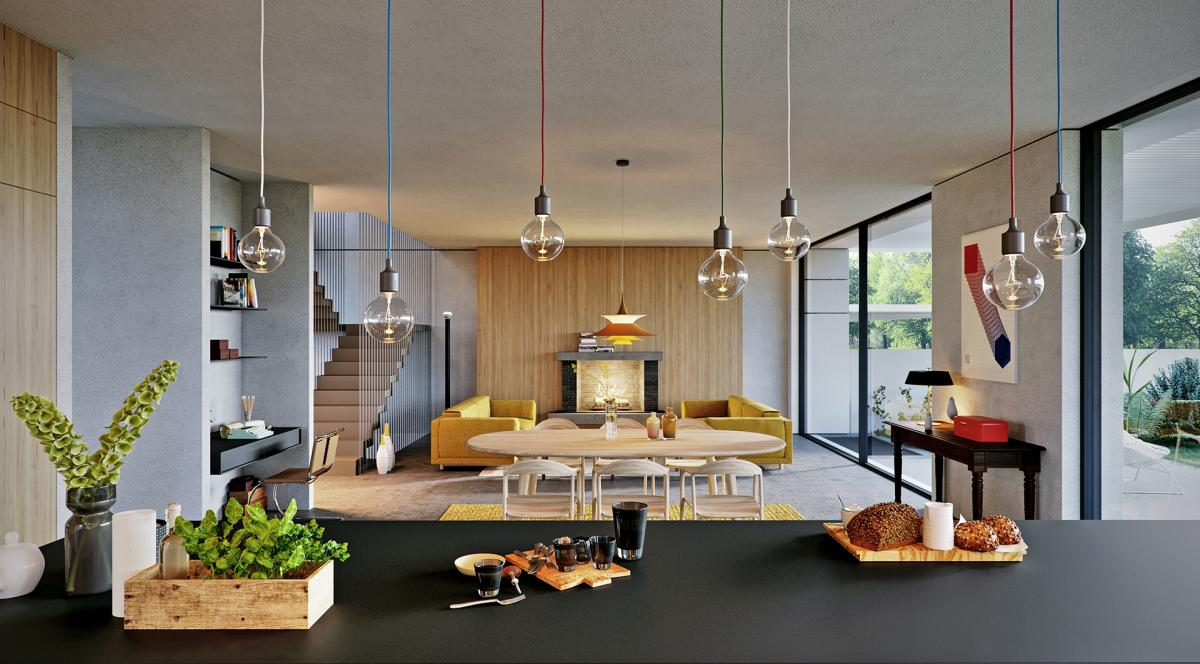 3d visualiazation living room Neva Chairs, Luc Table, mutto E27 lamps