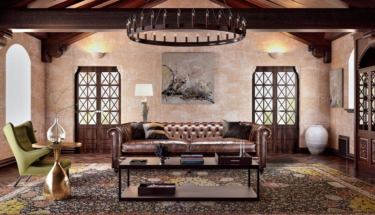 Montage of a chesterfield sofa with classical curves in a 3d room