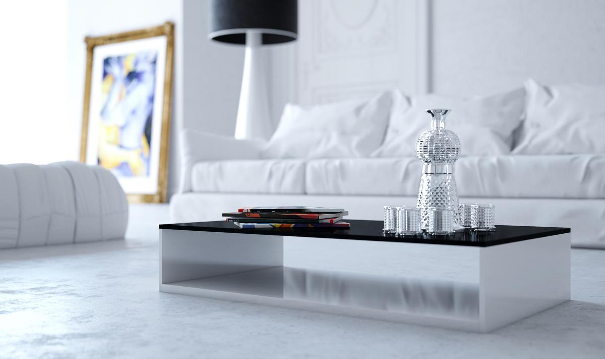 minimal scandinavian room with white sofa