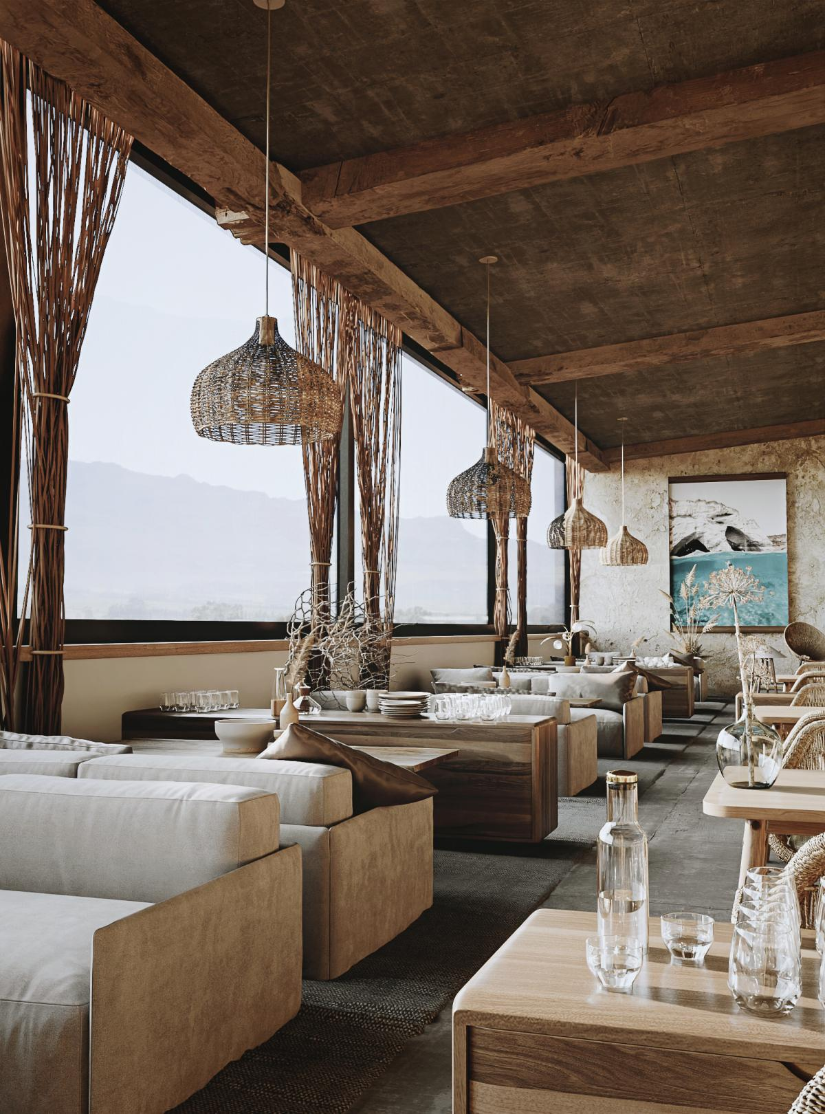 restaurant in greece renderings