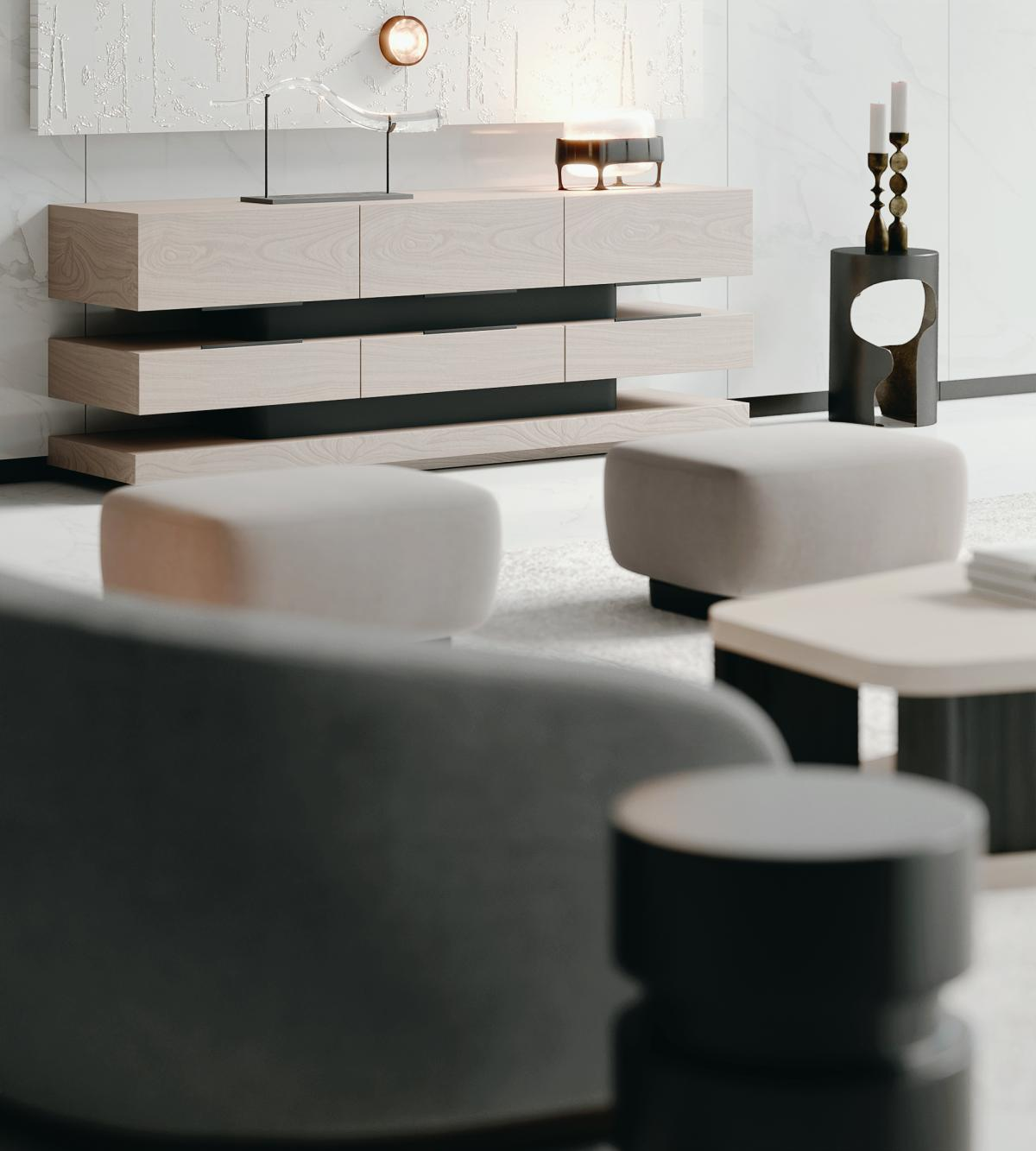 holly hunt minimal furniture 3d rendering Elemental drink table