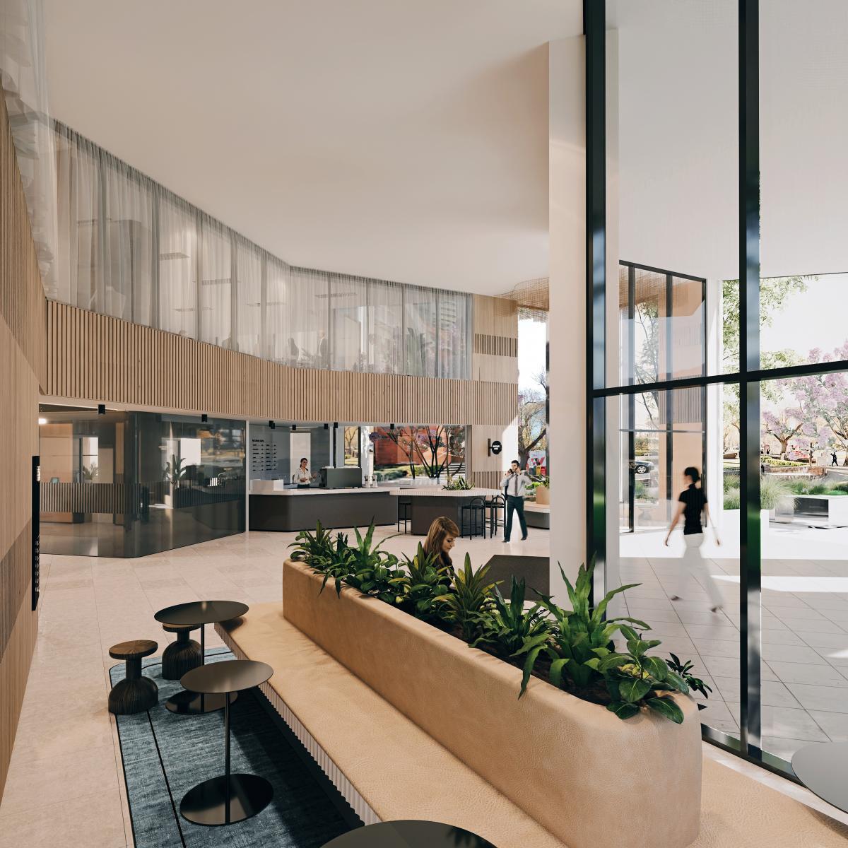 Building Lobby 3d rendering