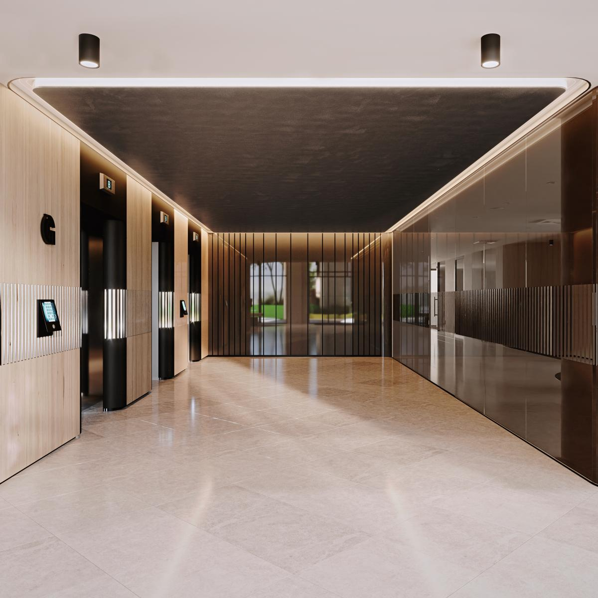main lift lobby 3d rendering