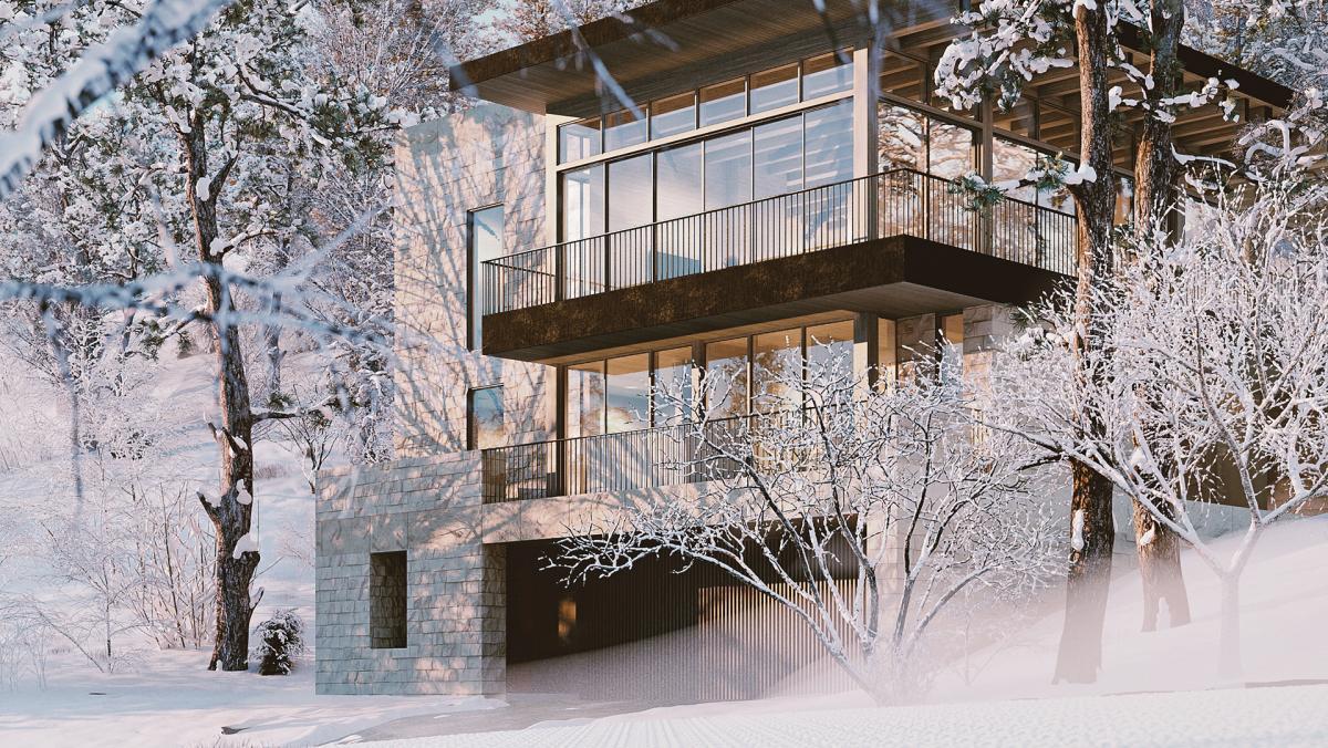 snowy house daylight 3d rendering