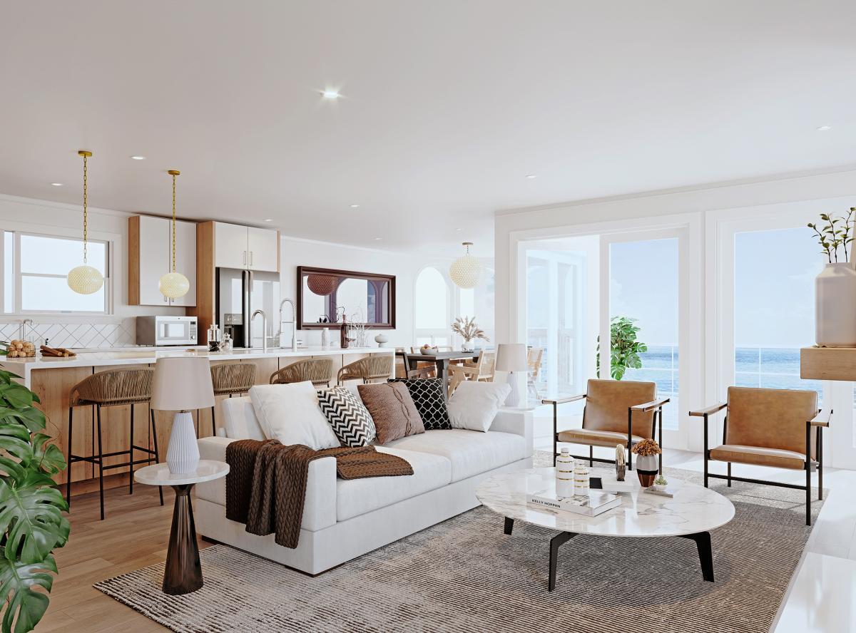 Manhattan beach living room interior 3d renderings