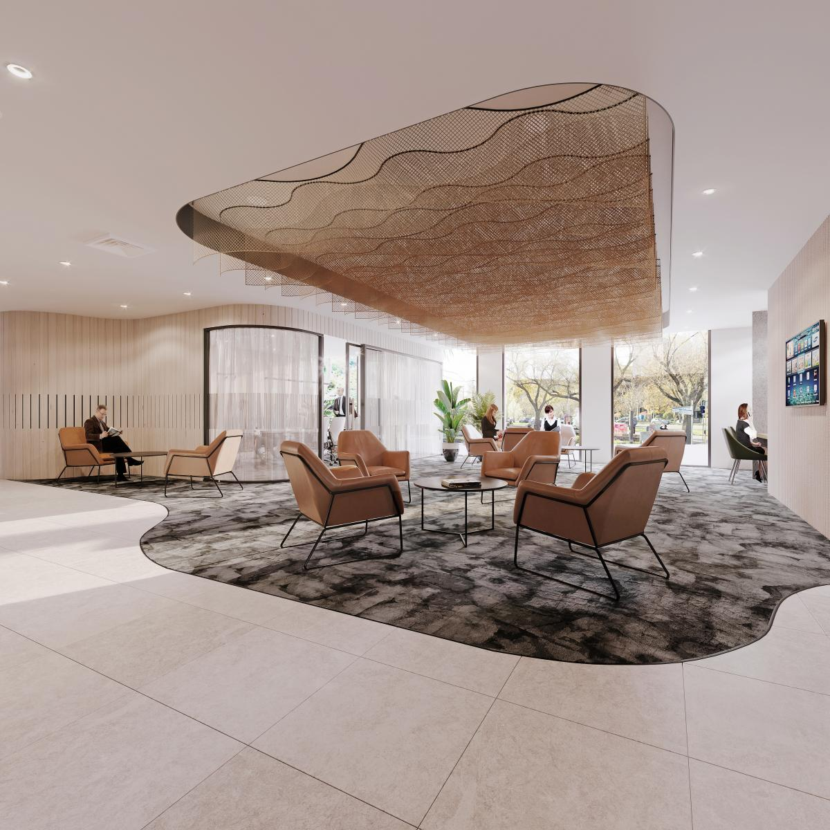 Melbourne office lounge 3d renderings