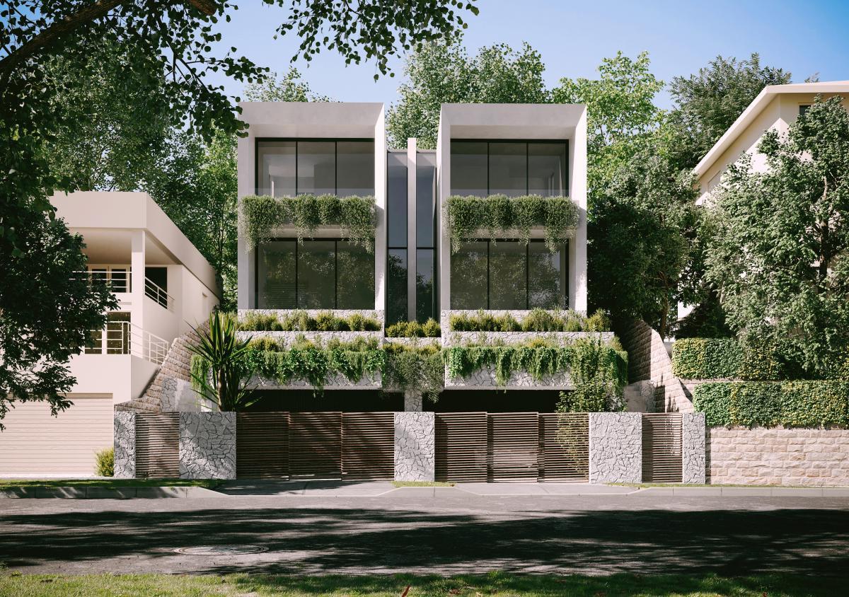 duplex townhome 3d rendering in Sydney
