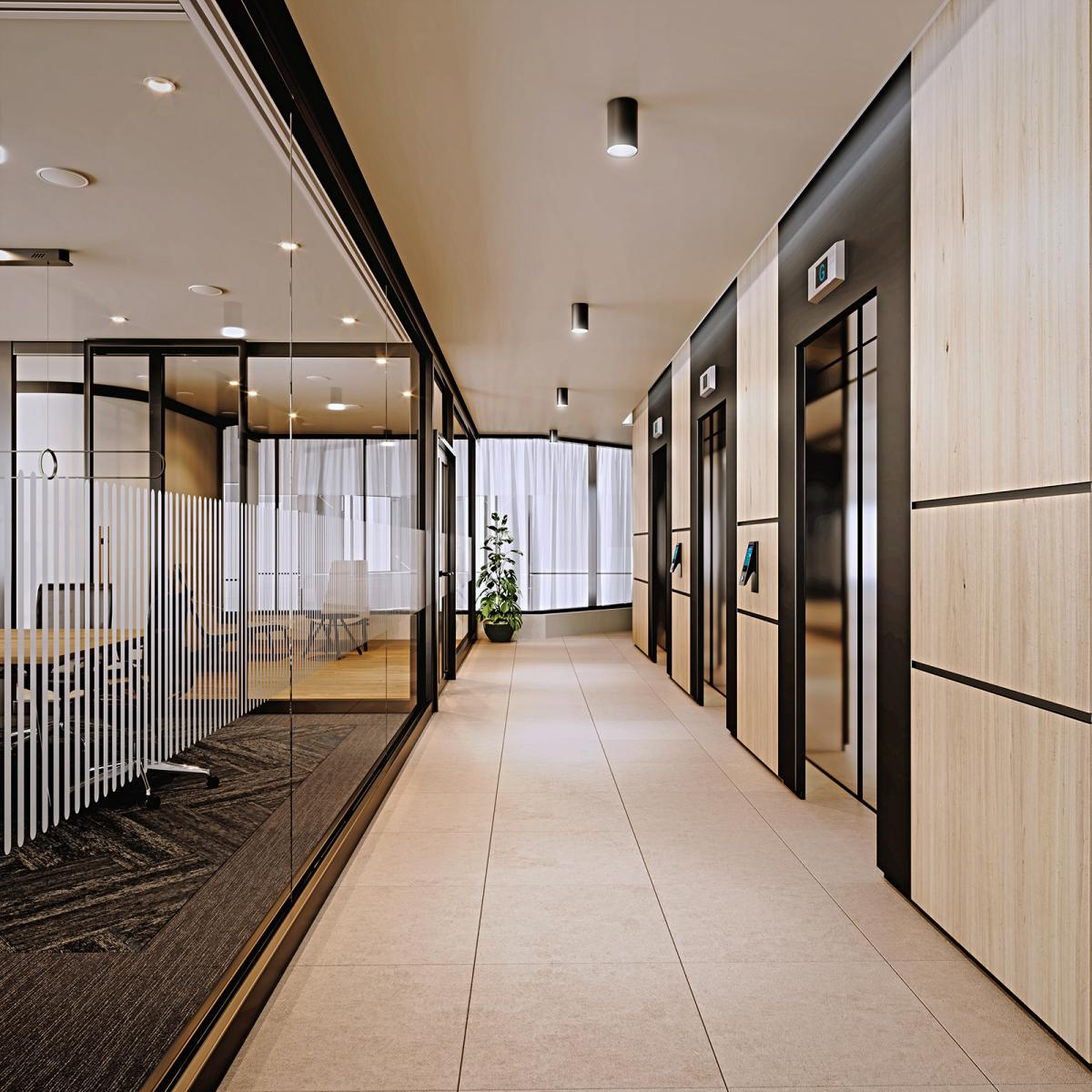 offices lift lobby 3d rendering
