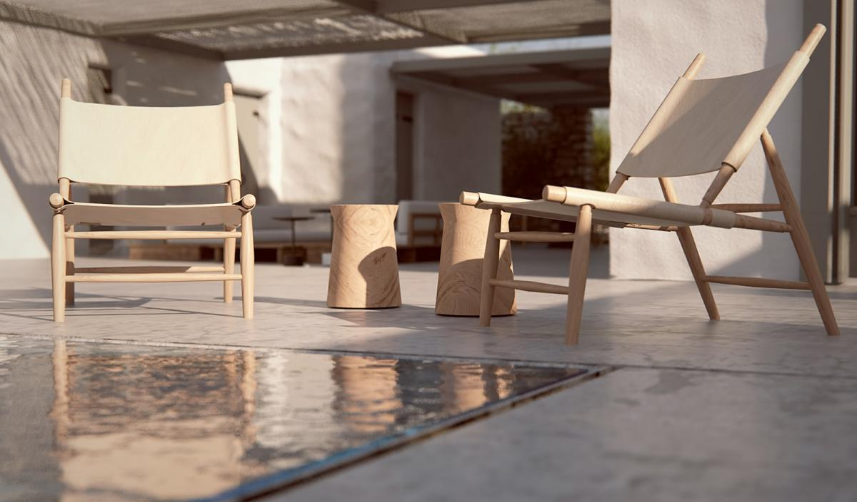 minimal villa in antiparos pool shot with chairs