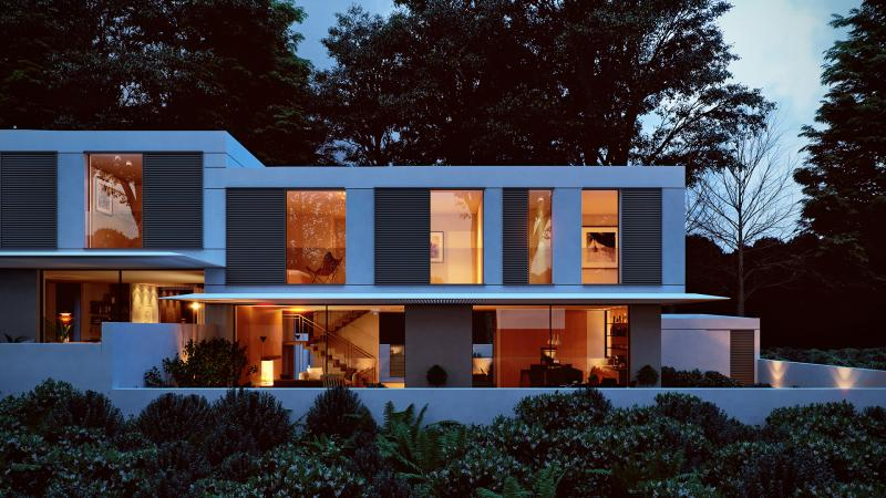 A dusk Exterior 3d rendering of a double family house in Israel