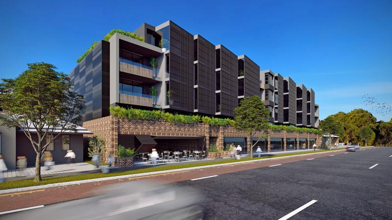 3d rendering of an apartment block with greenery